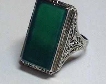 Vintage Art Deco Filigree Green Onyx Ring 14k White Gold