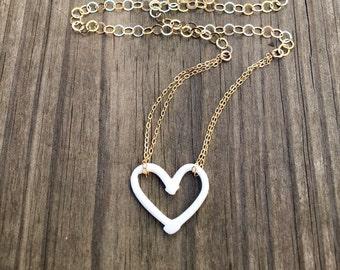 open porcelain heart necklace