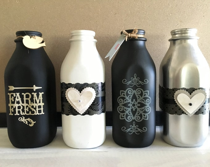 Decorative Recycled Altered Glass Milk Bottles, Hand Painted, Home Decor