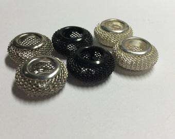 Metal Mesh Large Holed Beads-6 pc
