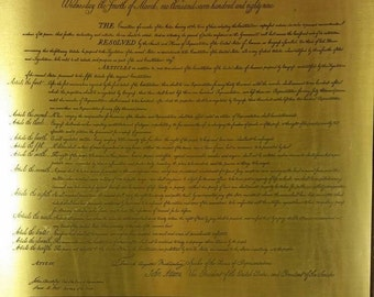 Bill of Rights/Congrefs of the United States Copper Plate/Tablet
