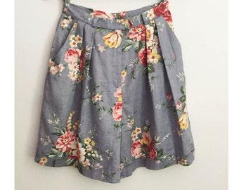 RALPH LAUREN floral walking shorts - Vintage High Waist Pleated short pants - Pastoral Rose Printed shorts