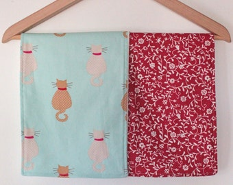 Two baby burp cloths / feeding cloths in mint cats and red flora with eco friendly bamboo towelling