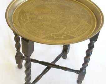 Antique English Oak Barley Twist Folding Benares Table - Brass Tray Top - Free Shipping