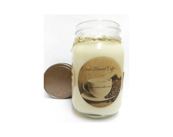 Fresh Ground Coffee 16oz Country Jar Handmade Soy Candle Aprox Burn time 144 hours