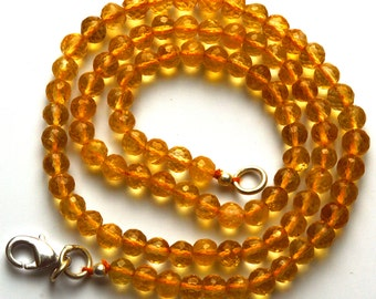 Natural 16.5 inch  Super Rare AAA Golden Citrin Faceted Round Balles  Shape Beads Necklace Size 4.5 TO 5 MM