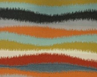 Modern BOHO Wave - Aqua - Navy - Orange - Green - Red - Upholstery Fabric By The Yard