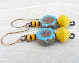 Floral Earrings, Flower Earrings, Czech Glass Earrings, Faceted Rondelle Earrings, Mustard Earrings, Blue Earrings, Vintaj Brass Earwires.