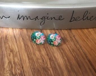 Glass Flower Stud Earrings. Nickel Free. #3