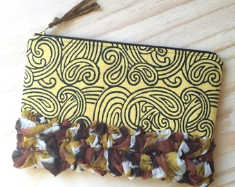 Clutch - Clutch Bag - Purse - Zippered Pouch - Recycled Upcycled Textiles - Boho - Eco Conscious - Yellow
