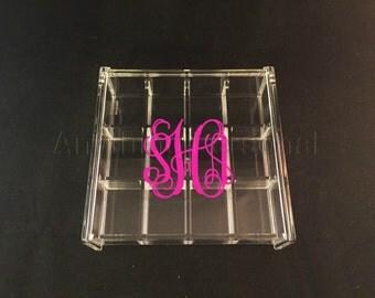 Monogrammed Acrylic Box, Hinged Jewelry Box, Trinket Box, Bridal Gift, Bridesmaid Gift, Acrylic Box, Personalized Gift, Monogrammed Box