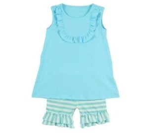 Baby blue Tank/short outfit Size 12(11-12year)