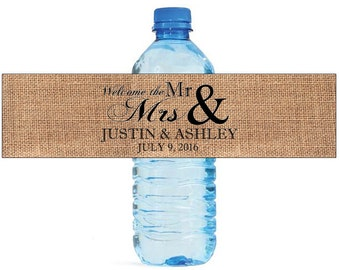 Welcome the Mr & Mrs on Burlap water bottle labels Wedding Bridal shower Water Bottle Labels Great for Engagement Party
