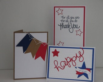 Patriotic Card Set. Veteran's Day Cards. Thank You Patriotic Cards. Memorial Day Cards. Patriotic Card Assortment.  4th of July Cards