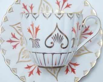 Royal Chelsea Orange Gold Vintage Fine Bone China Tea Cup and Saucer Made in England