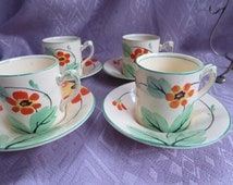 4 Coffee Cans Saucers Spoons on Display Stand Art Deco Royal Venton England 1923-36 Fantastic Vintage Wedding Gift