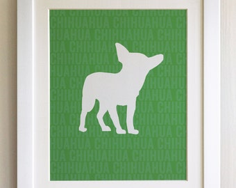 FRAMED Chihuahua Dog Print - Green, Birthday, New Home, Black or White frame, Fab Picture Gift