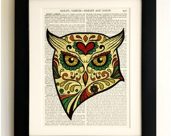 FRAMED ART PRINT on old antique book page - Sugar Skull Owl, Vintage Upcycled Wall Art Print Encyclopaedia Dictionary, Fab Gift