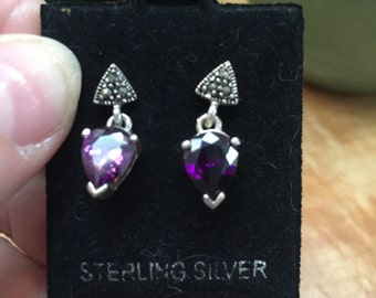Sterling marcasite and cz earrings