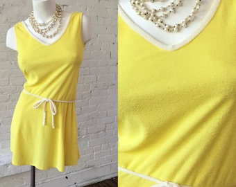 Loomtogs Tennis Whites Yellow Terry Mini Pullover Dress