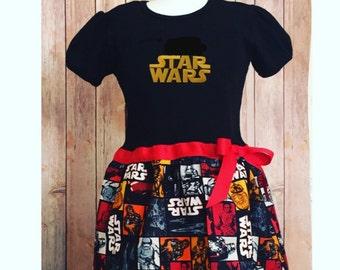 Starwars Dress, Kid's Star Dress, Girl's Star Wars Dress, Storm Trooper, Little Girl Casual Dress