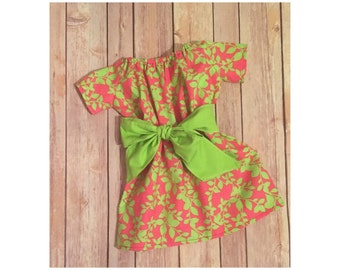 Girl's Peasant Dress, Pink and Green Dress, Spring Dress, Toddler Summer Dress