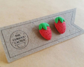 Strawberries - Polymer Clay Sterling Silver Earrings