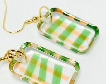 Clear Resin Earrings- Multi color Earrings - Designer Jewelry - Paper Earrings - Artisan Jewelry - Clear Earrings - Rectangle Earrings
