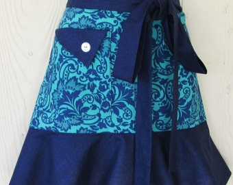 Retro Style Half Apron, Teal and Navy, Floral Damask Print, Waist Apron, KitschNStyle