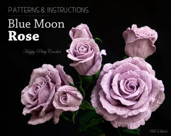 Crochet Rose Pattern - Crochet Blue Moon Rose Pattern - Hybrid Tea Flower Pattern - Crochet Flower Pattern
