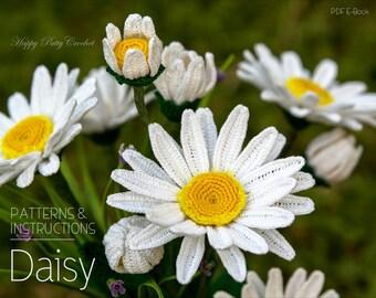 Crochet Daisy PATTERN - Crochet Shasta Daisy Pattern - Crochet Flower Pattern - Daisy Flower Pattern - Crochet Pattern