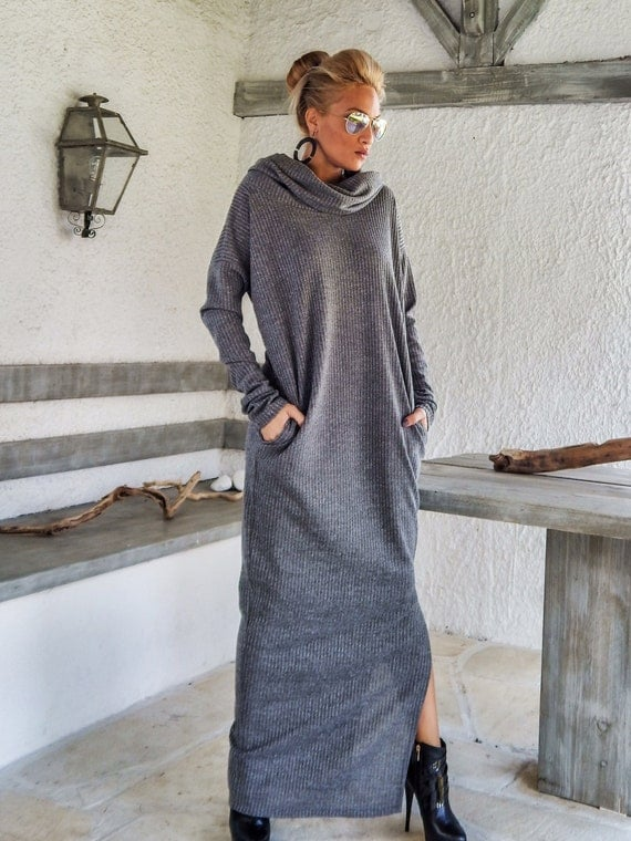 Gray Winter Wool Turtleneck Maxi Dress Kaftan with Pockets /