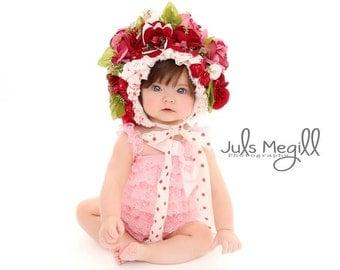 Flower bonnet CUSTOM,made to order,photography prop, 6-9 month 9-12 month,Spring bonnet,Floral Bonnet,
