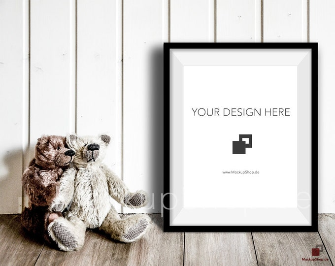 16x20 NURSERY MOCKUP FRAME black with 2 loving bears . Perfect mockup frame for Nursery room. Empty Frame Mockup Nursery Mockup. 16x20