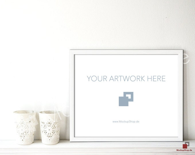 11x14 WHITE WODDEN FRAME Mockup on sideboard // Empty Frame Mockup // White Mockup Frame // Instant Download // Wooden Frame Mockup //