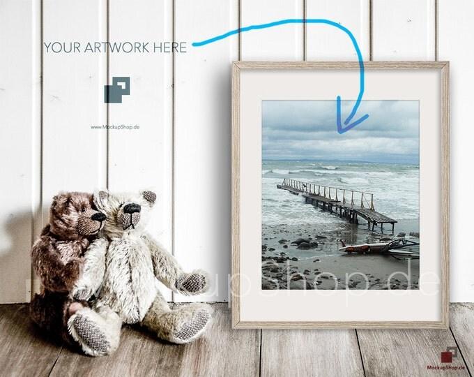 16x20 NURSERY MOCKUP FRAME shaby wood with 2 loving bears . Perfect mockup frame for Nursery room. Empty Frame Mockup Nursery Mockup. 16x20