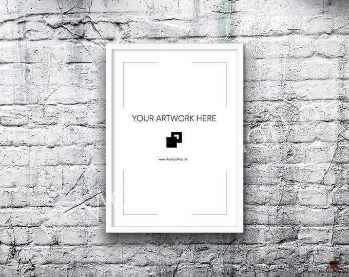 A3 A2 Vertical DIGITAL white FRAME MOCKUP, Styled Photography Poster Mockup, old White Brick Background, Framed Art, Instant Download