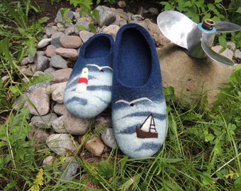 Felt wool slippers. Felt slippers. Blue felt slippers. Ecofrendly. Wet felting. Natural wool. Wet felting. Organic wool 100%.