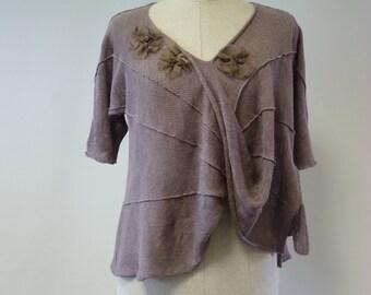 Irregular plum coloured blouse, S/M size.