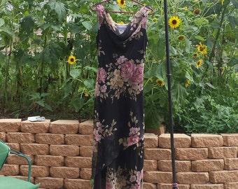 Vintage designer floral design slip maxi dress Jessica Howard draped neckline roses garden party dress