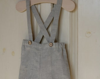 Boy Shorts with suspenders Natural linen pants Stone washed linen shorts Trousers with braces Summer clothes