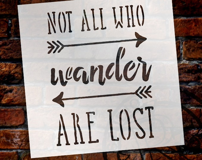 Featured listing image: Not All Who Wander Word Stencil - Select Size - STCL1511 - by StudioR12