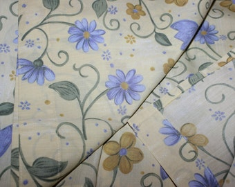Cute vintage retro pair of Curtain lengths with spring / summer floral pattern. Made in Sweden Scandinavian.