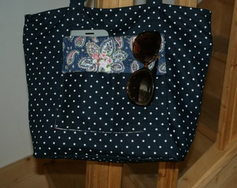 Flexible blue jeans tote bag White Star doubled printed cotton cashmere pink and blue.
