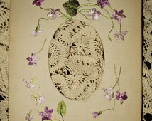 Violet Flowers Victorian Picture Frame Society Silk Embroidery Linen Fabric