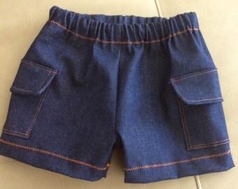 Baby Boy Denim Shorts with Side Pockets, Kids Denim Cargo Shorts
