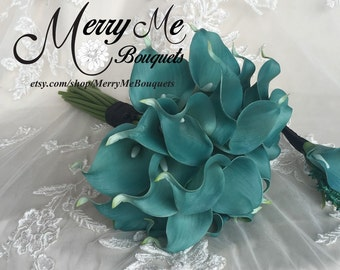 Teal Calla Lily Bouquet - True Touch Calla Lily Bouquet - Teal Bouquet - Teal and Black Bouquet - Real Touch Teal Bouquet - 2 Dozen