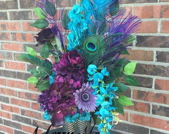 Purple and Turquoise Centerpiece - Peacock Feathers - Silk and True Touch Flowers Floral Arrangement