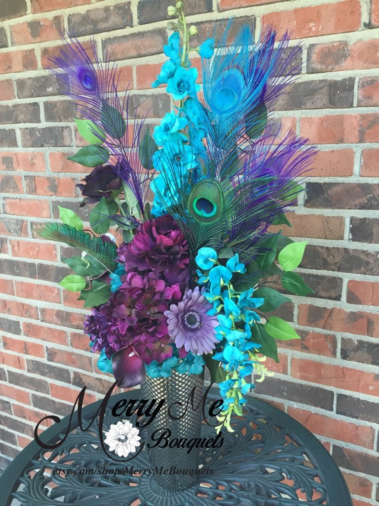 Purple and Turquoise Centerpiece Peacock Feathers Silk and