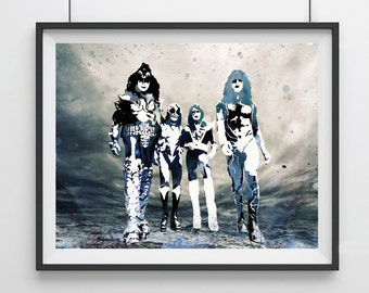 KISS Rock Art, KISS Band Wall Art, Kiss Portrait, Kiss Band painting, Watercolor Painting KISS, Kiss Rock Poster,Kiss Print,Rock Music-41